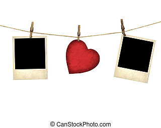 Old style photo and Valentine card heart shaped from old red...