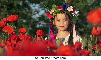 Girl in a poppy field - Little girl in traditional clothes...