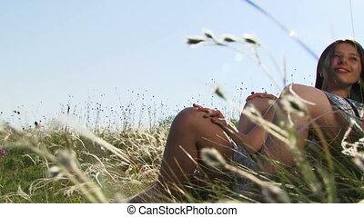 Resting in a field