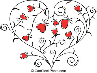 Hearts of floral hearts - Valentine card with beautiful...