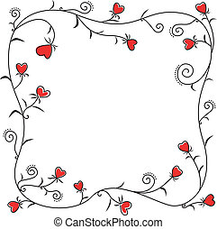 Frame of floral hearts - Valentine greeting frame of floral...