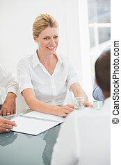Smiling businesswoman during a meeting