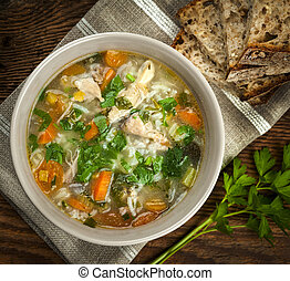 Chicken soup with rice and vegetables - Chicken rice soup...