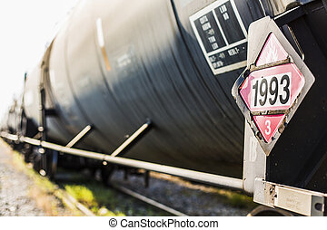 Black Train Car - Railroad train of black tanker cars...