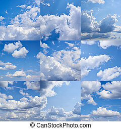 Cloudy sky collection - Cloudy blue sky collection, set of...