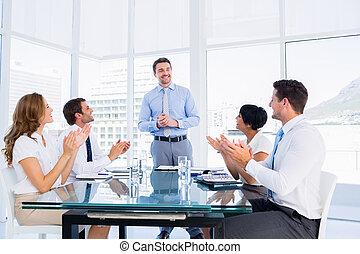 conferencia, Aplaudir, alrededor, Ejecutivos