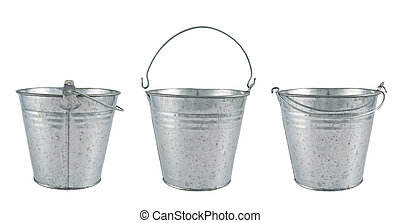 Metal zinc bucket isolated over white background, set of...