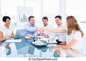 executivos, agitação, mãos, durante, B
