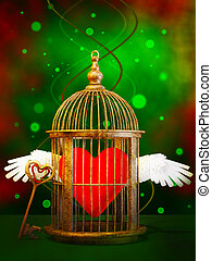 Loving heart  in cage