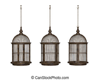 wooden ancient bird cage