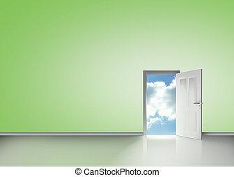 Door opening to reveal blue sky in a green room