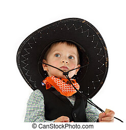Cowboy child on white background