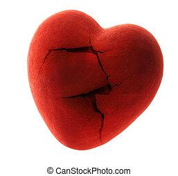 rouges, cassé, coeur