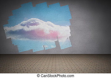 Display on wall showing cloud in sky