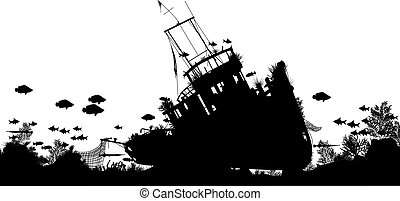 Shipwreck forground - Editable vector silhouette foreground...