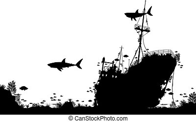 Shipwreck reef - Editable vector silhouette foreground of...