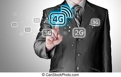 Businessman pushing 4g