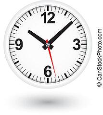 White clock icon, vector illustrati
