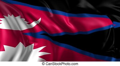 Flag of Nepal - Beautiful 3d animation of The Nepal flag in...