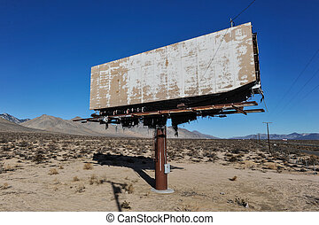 Old rusted blank billboard by road - A rusting billboard...
