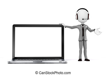 3d man businessman and laptop - online support center