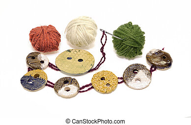Sewing elements: button, needle, clew