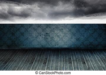 Stormy sky beyond balcony