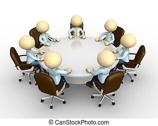 Meeting - 3d people - man, person sitting at a round table...