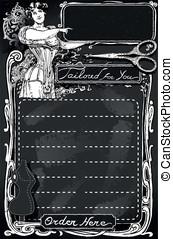 Vintage Blackboard for Tailor shop - Detailed illustration...