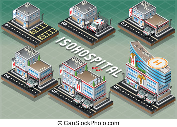 Set of Isometric Hospitals - Detailed illustration of a Set...