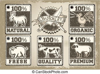 Vintage Labels Page for Butcher Shop