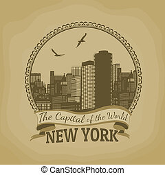 New York ( The Capital of the World) retro poster -...