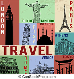 Vintage travel poster with symbols and famous building,...