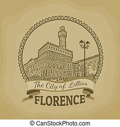 Florence ( The City of Lillies) retro poster - Landscape of...