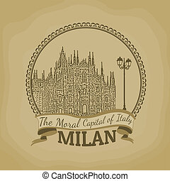 Milan ( The Moral Capital of Italy) retro poster - Landscape...