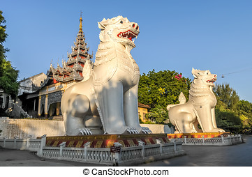 Entrance to Mandalay Hill - Two Chinthes Guard the Southern...