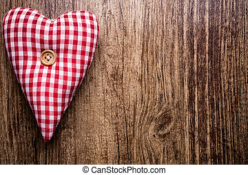 Vintage heart. - Heart on a wooden background. Vintage...