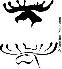 Black silhouettes of elk head