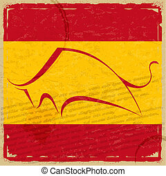 Grunge Spanish flag with the silhouette of a bull