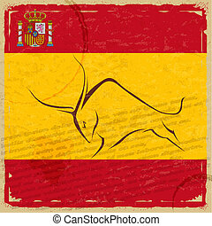 Grunge Spanish flag with the emblem and the silhouette of a bull
