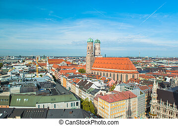 Aerial view of Munchen Marienplatz, New Town Hall and...