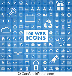 Set of 100 web icon vectors - Set of 100 web, internet,...