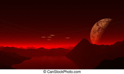 UFO, the moon and the red mist