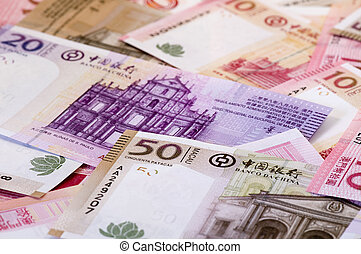 Macau dollar (patacas) - The heap of Macau Patacas (notes)...