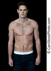 Handsome young muscular male model - Young shirtless fit...