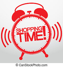 Shopping time alarm clock, vector illustration