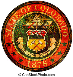 colorado coat of arms - old vintage isolated over white...