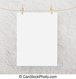 paper clips - blank paper clips and concrete background
