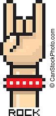 vector pixel art hand sign rock n roll button