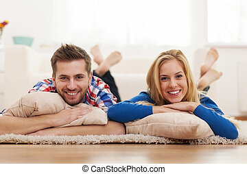 Beautiful portrait of couple at domestic room